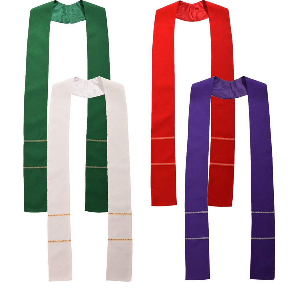 1pc Christian Clergy Stole Cross Embroidery Priest Mass Church Stole for Chasuble White/Red/Green/Violet