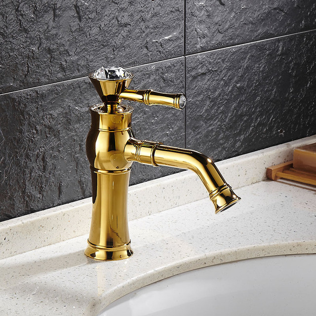 Free Shipping High Quality Bathroom Faucet Total Brass Gold/Chrome Bathroom  Basin Faucet ,Luxury