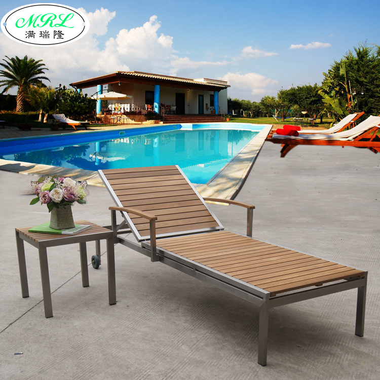 Outdoor Teak Wood Deck Chairs Lying Bed Recliner Stainless Clubhouse