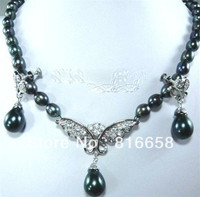 hot Free shipping@@jewelry silver fashion saltwater 7 8mm black pearl necklace earring set