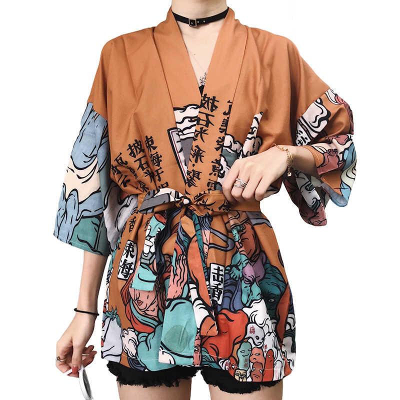 2019 着物カーディガン原宿夏ブラウス女性シャツビーチ生き抜くコスプレ緩い着物女性和服カジュアルトップス
