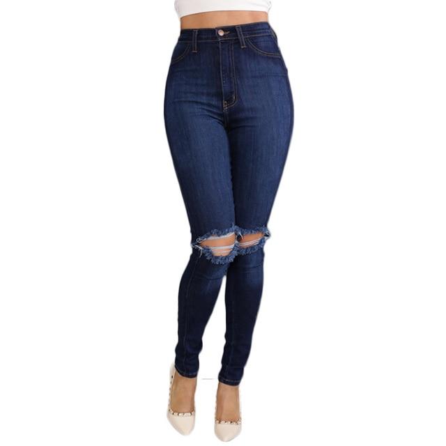 6b33123deb9 NVZHUREN D été Déchiré Jeans Pour Femmes Enroulement Femme Maigre Pantalon  Slim Pantalons Pour Femmes
