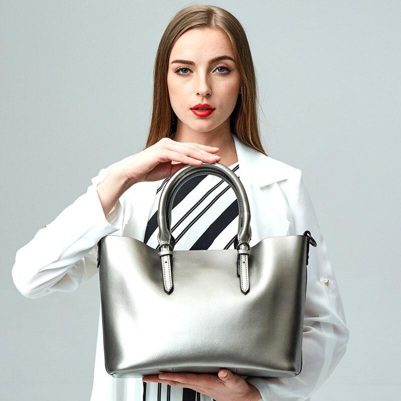 Adatto formato 32 cm * 25 cm * 15 cm sacchetti di spalla delle donne del cuoio genuino/colore nero, marrone, rosso, argento, trasporto libero