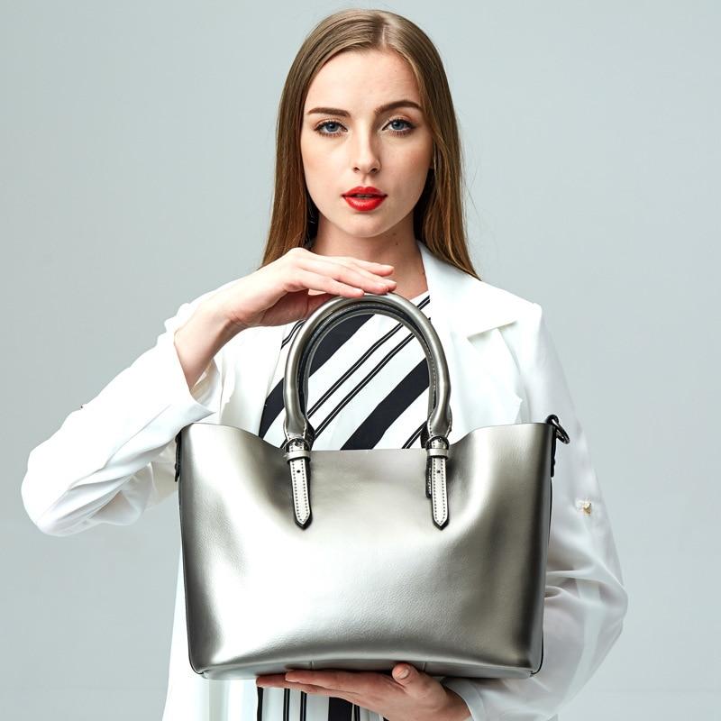Suitable size 32cm 25cm 15cm genuine leather women s shoulder bags color black brown red silver