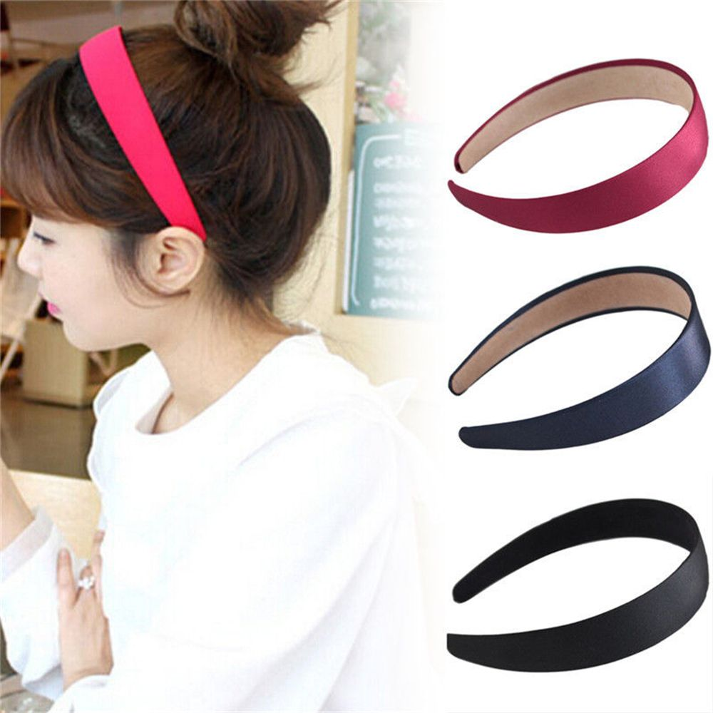 5 Colors Wide Plastic Headband Hair Band Accessory Wholesale Lots Satin   Headwear