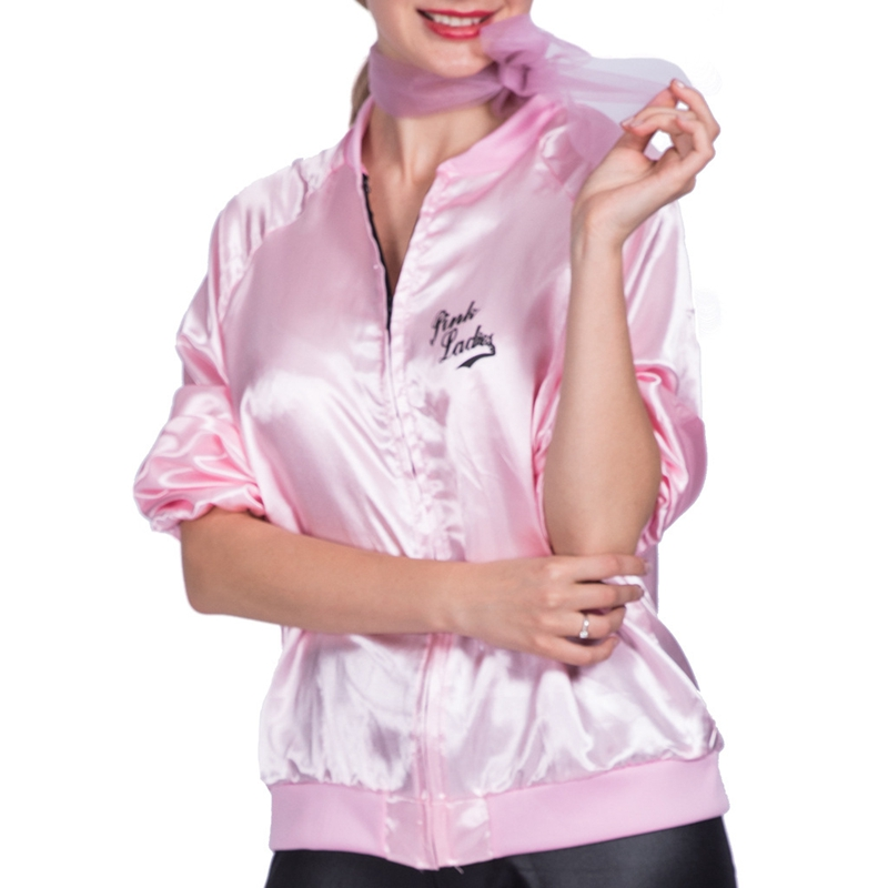 Deluxe 50s Grease Pink Satin Ladies Jacket Badges 1950s Costume Frenchie Rizzo