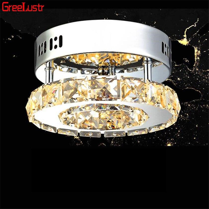 Современные хрустальные потолочные лампы, светодиодный светильник для коридора с кольцом, люстра из нержавеющей стали, светильник для прохода, светильники, Lustre Luminarias