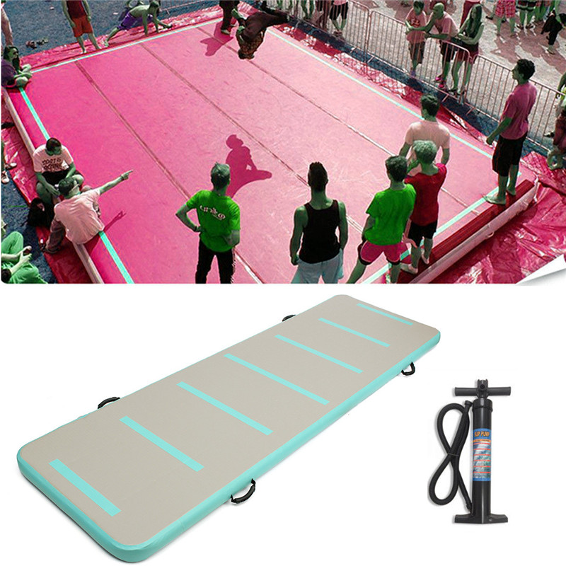 Inflatable Air Track Floor Home Gymnastic Cheerleading Tumbling Mat GYM with Hand Pump funny summer inflatable water games inflatable bounce water slide with stairs and blowers