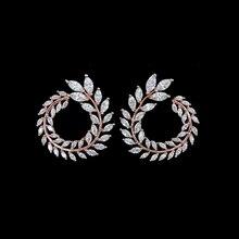 Famosa Marca de Joyería de Oro Rosa Chapado de Lujo Cubic Zirconia Moda de Nueva Diseño de Hoja de Olivo Stud Pendientes Para Las Mujeres
