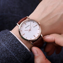 2018 Leather Bussiness Men's Watches Top Brand Luxury Fashion Quartz Watches Men Complete Calendar Wrist Watch erkek kol saati