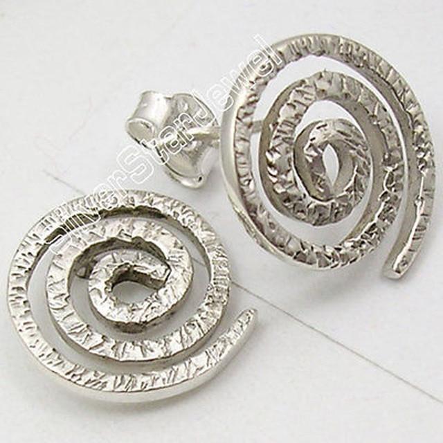 Solid Silver Wonderful STAMPED HANDMADE Stud Indian Jewelry Earrings 1.5 CM