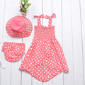 Девочки Летние Платья Розовый Точка Использовать Платье + Hat + Нижнее Белье 3 шт. Малыша Сладкий Милый Костюм Лук Дети одежда 0-3Y