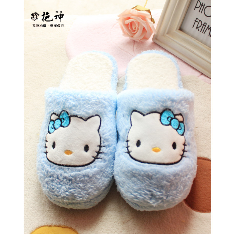 New fashion hello kitty home slippers women s cute indoor slippers super warm soft winter house
