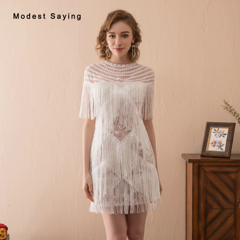 Sexy Sheer Ivory Straight Short Sleeves Lace   Cocktail     Dresses   2018 Featuring Tassel Short Pearls Party Prom Gowns robe   cocktail