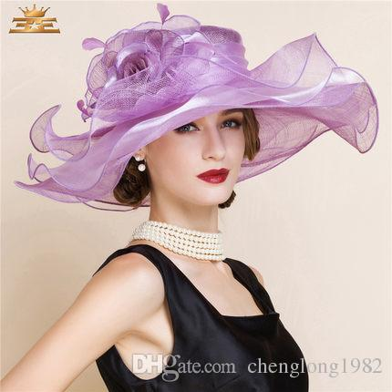 Women Church Hats Women Dress Hats Derby Church Hats 100% Polyester Satin Ribbons Two Colors Available - 2
