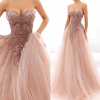 Fluffy Dusty Pink Long Prom Gowns 2018 Off the Shoulder A Line Appliqued Tulle Evening Gowns Haute Couture Formal Party Dress