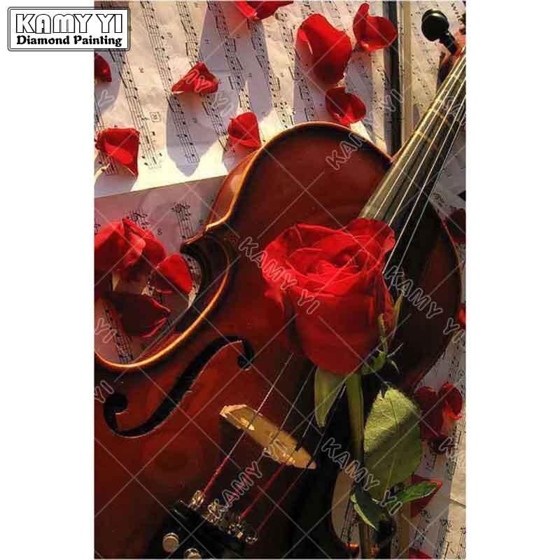 5D DIY Full square Diamond Painting Mosaic flower and guitar couple Diamond Rhinestone Embroidery Cross Stitch home decor gift
