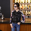 2016 Early Autumn Fashion Women Jackets Slim Printed Stand Collar Coat  Flower White Black  Button Jacket Coat