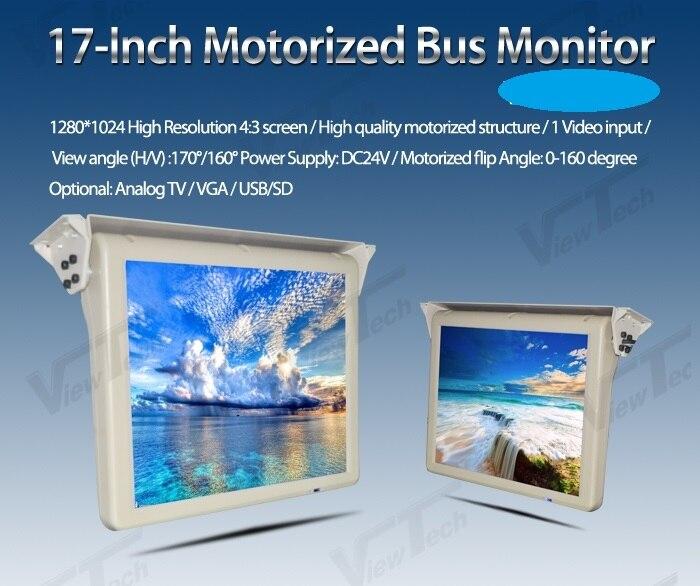 17 дюймов DC24V antomatic потолочный откидной ЖК дисплей Моторизованный Крыши монитор шины с аналоговыми ТВ/VGA/USB слот/SD 1280*1024