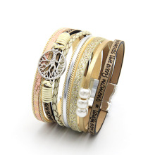 ZG Hot Bohemian Pearl Crystal Leather Bracelet Woman Pulseira Magnetic Buckle Multilayer Women Peace