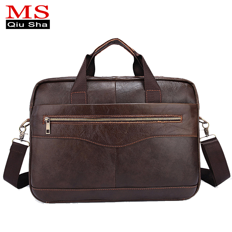 MS.QIUSHA Genuine leather bag Men Messenger Bags Briefcase Cowhide laptop bag business Handbags Shoulder Vintage Crossbody Bag