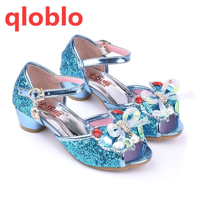 6a695d2c3 Qloblo 2018 Girls Leather Sandals Brand Sandals Princess Girls Shoes High  Heels Butterfly Shoes