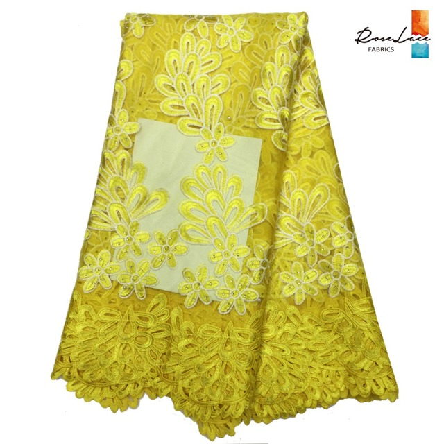 Yellow African French Mesh Net Lace Embroidery Fabric With Beads And Stones Swiss  Voile Tulle Lace d84372afc362