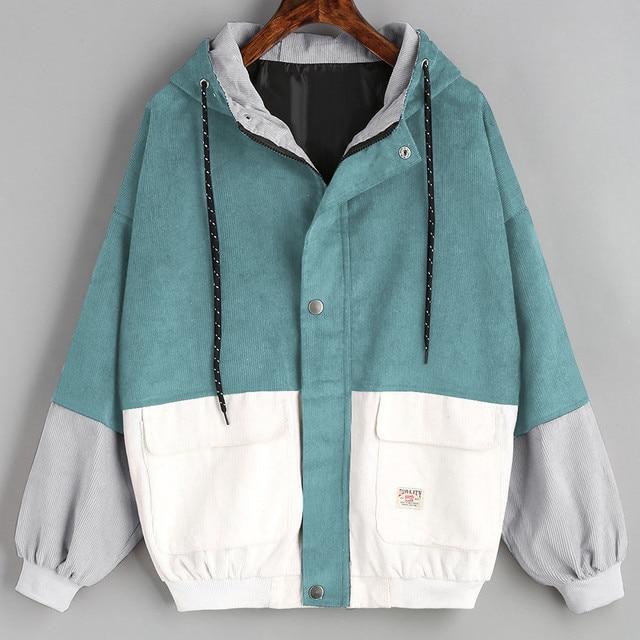 MUQGEW women 2018 Spring casaco feminino Long Sleeve Corduroy Patchwork Oversize