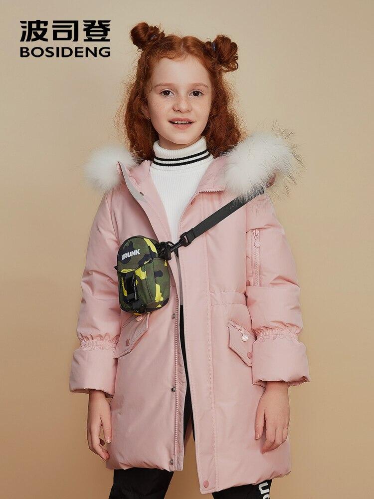 BOSIDENG 2018 enfants filles hiver épaissir manteau mi-longue pagode manches lâche à capuche parka taille haute fourrure naturelle T80141502DS