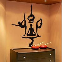 Free Shipping Yoga Wall Stickers Yoga Poses OM AUM WALL VINYL STICKER DECALS ART MURAL Yoga