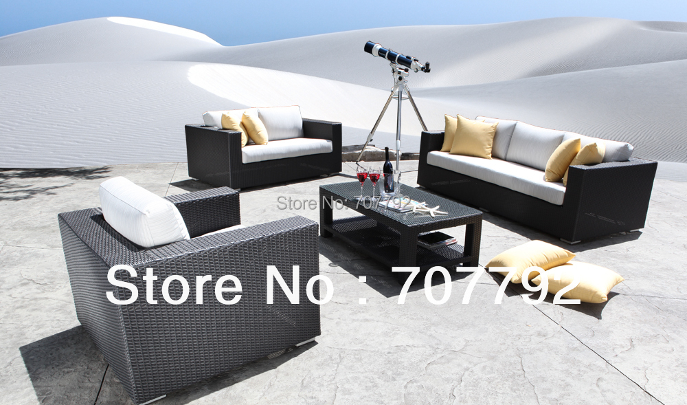 2017 Hot Sale Chorus Square Rattan Wicker Patio Furniture Modern Sofa Set