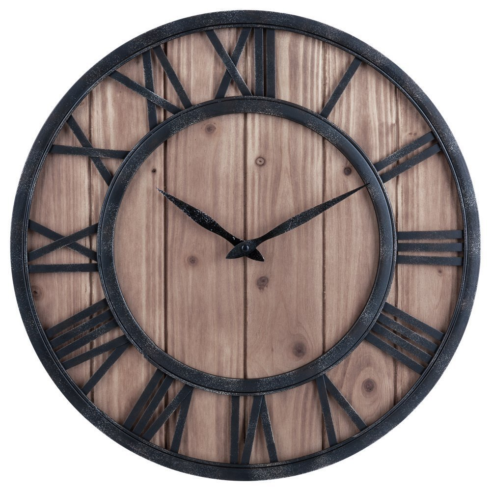 Farmhouse Rustic Barn Vintage Bronze Metal & Solid Wood Noiseless Big Oversized Wall Clock