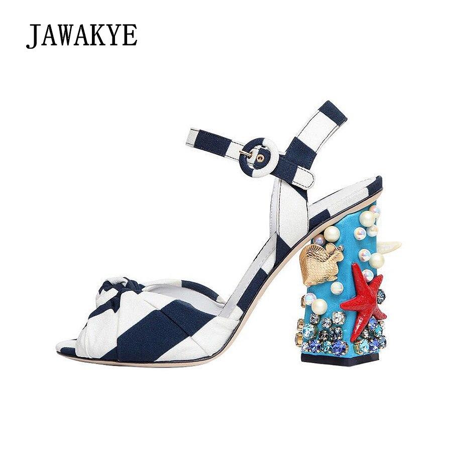 Новые модные босоножки, вечерние туфли в синюю и белую полоску с открытым носком, босоножки на высоком массивном каблуке, туфли для подиума,