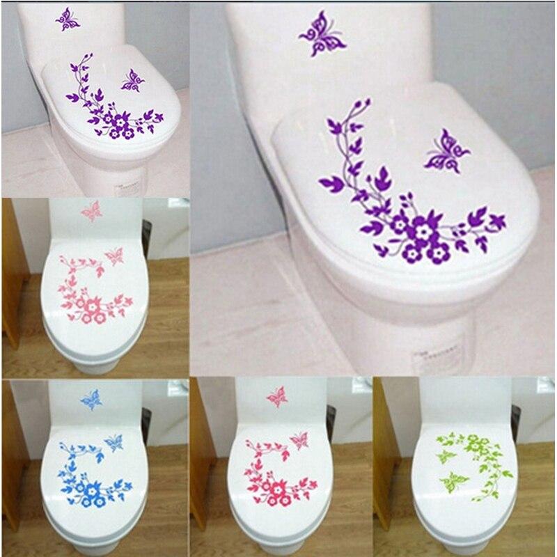 Papillon fleur vigne salle de bain Stickers muraux décoration de la maison papier peint Stickers muraux pour toilette autocollant décoratif décor à la maison