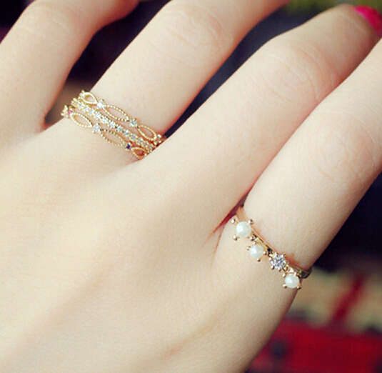 2015 fashion gold plated rings set color rhinestone pearl