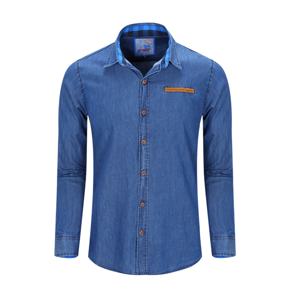 New Brand Men Shirt Long Sleeve Mens Denim Shirt 100% Cotton Casual Dress Jean Shirts Plus Size ...