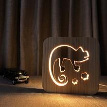 USB Plug Chameleon Led Night Light Wooden Cartoon Animals Lamp Bedside Atmosphere Children Sleep Lighting Deco