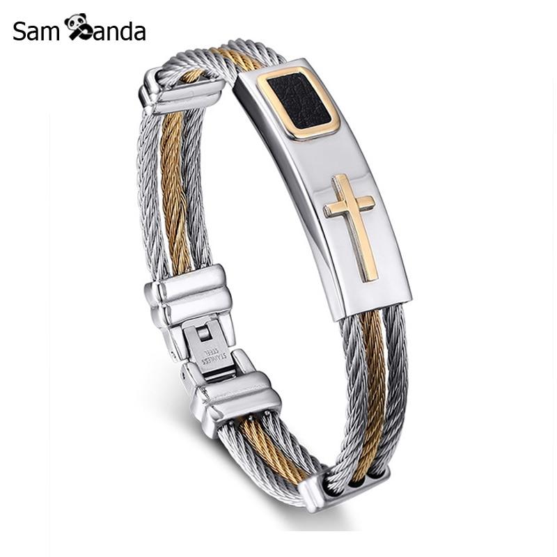 2017 New Gold Jesus Cross Bracelet Men s