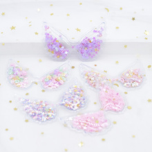 5Pcs 72*48mm Filling Multiple Styles Sequin Appliques Angel wings Patches for DIY Cake Topper Headwear Hair Clips Bow Decor H09