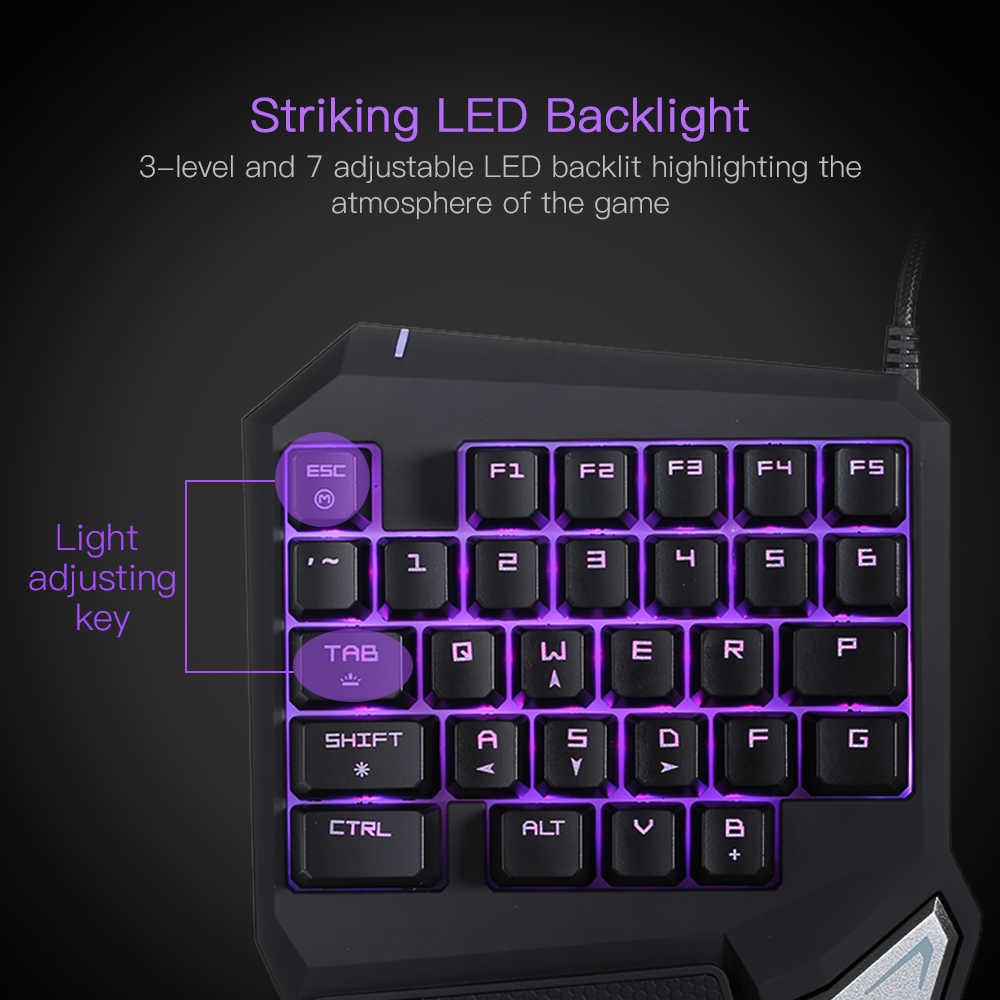 Delux T9 Pro Professional One/Single Hand Gaming Keyboard USB Wired Esport  Gamer Keyboard 29 Key Coloful LED Backlit for LOL