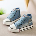 Los niños de la lona shoes niños niñas zapatillas de deporte de moda 2017 nueva primavera high top jeans denim sneakers classic casual shoes for kids
