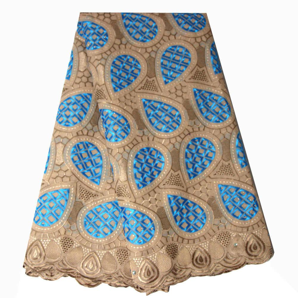 Ourwin スイスレース生地アクアグリーン高品質アフリカのスイスボイルレース生地石ナイジェリア結婚式のレース刺繍生地
