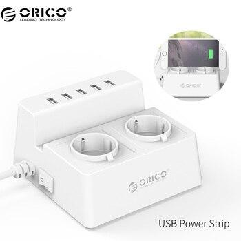 ORICO Office для дома ЕС Мощность полосой, смарт-электрический удлинитель Зарядное устройство с 2 розетки и 5 Порты USB Зарядное устройство для теле...