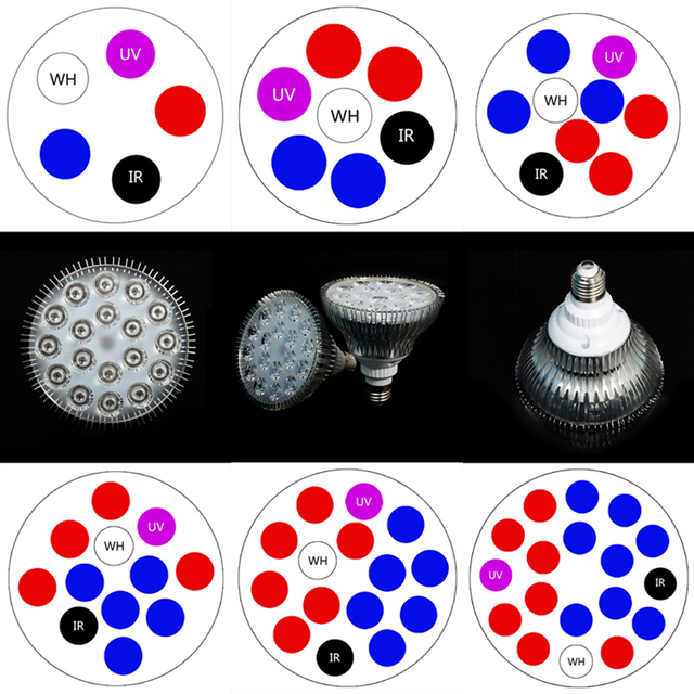 Full Spectrum 5W 7W 9W 12W 15W 18W Red+Blue+IR +UV +White LED grow light Horticulture for Garden Flower Plant Hydroponics