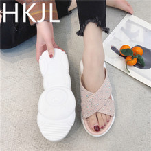 HKJL 2019 spring and summer non-slip slippers wear female bear bottom fashion rhinestones muffin with A504
