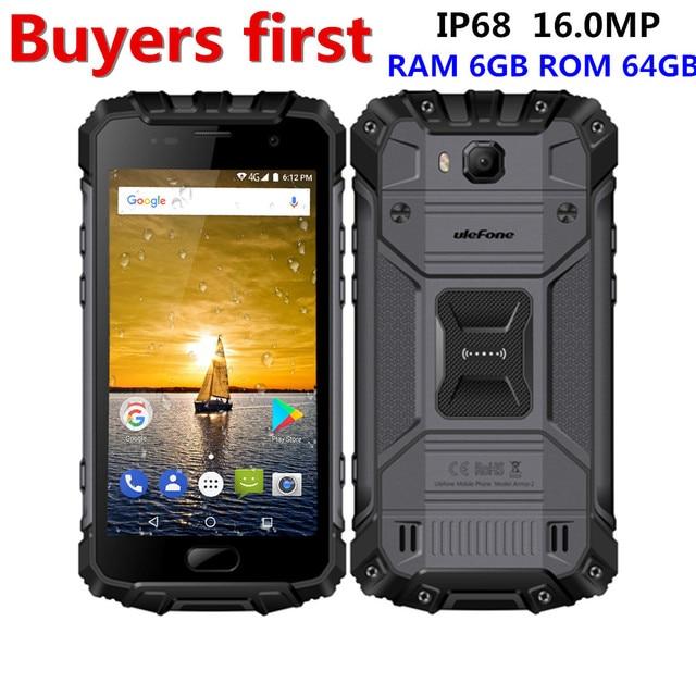 """Ulefone Панцири 2 IP68 Водонепроницаемый мобильный телефон 5.0 """"6 ГБ Оперативная память 64 ГБ Встроенная память helio P25 Octa core 2.6 ГГц NFC 4700 мАч 4 г 16.0MP смартфон"""