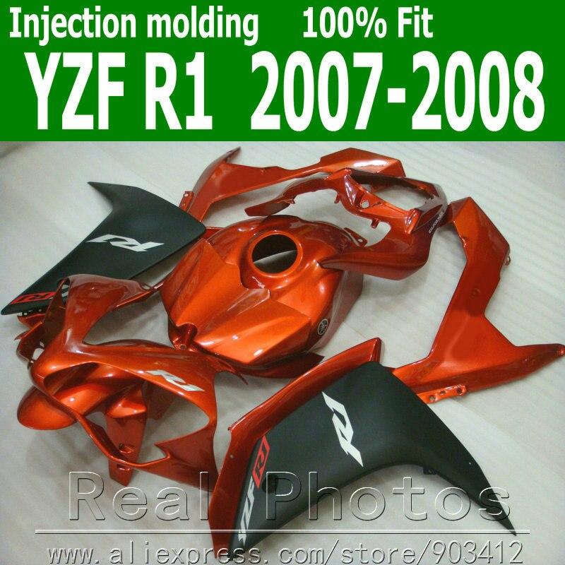 Injection molding full fairing kit for YAMAHA R1 fairings 2007 2008 matte black red body kit 07 08 YZF R1 NB38