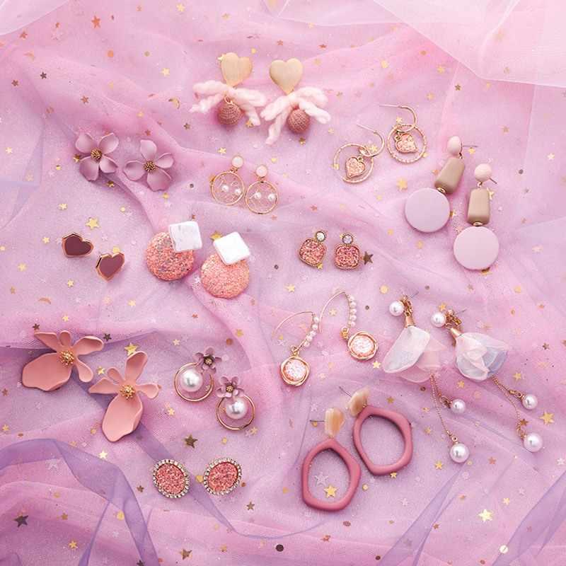 2019 ピンクイヤリング韓国の花甘い幾何イヤリング模擬パール pendientes mujer 女性タッセル耳ジュエリー brincos
