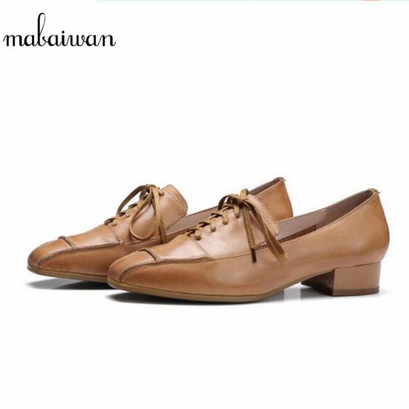Mabaiwan New Casual Women Shoes Genuine Leather Ankle Boots Lace Up Female Dress Party Wedding Shoes Comfortable Spring Flats