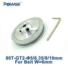 POWGE 1 шт. 80 зубьев GT2 зубчатый шкив диаметр 5 мм 6,35 мм 8 мм 10 мм для ширины 6 мм GT2 зубчатый ремень 2GT шкив 80 зубьев 80 T
